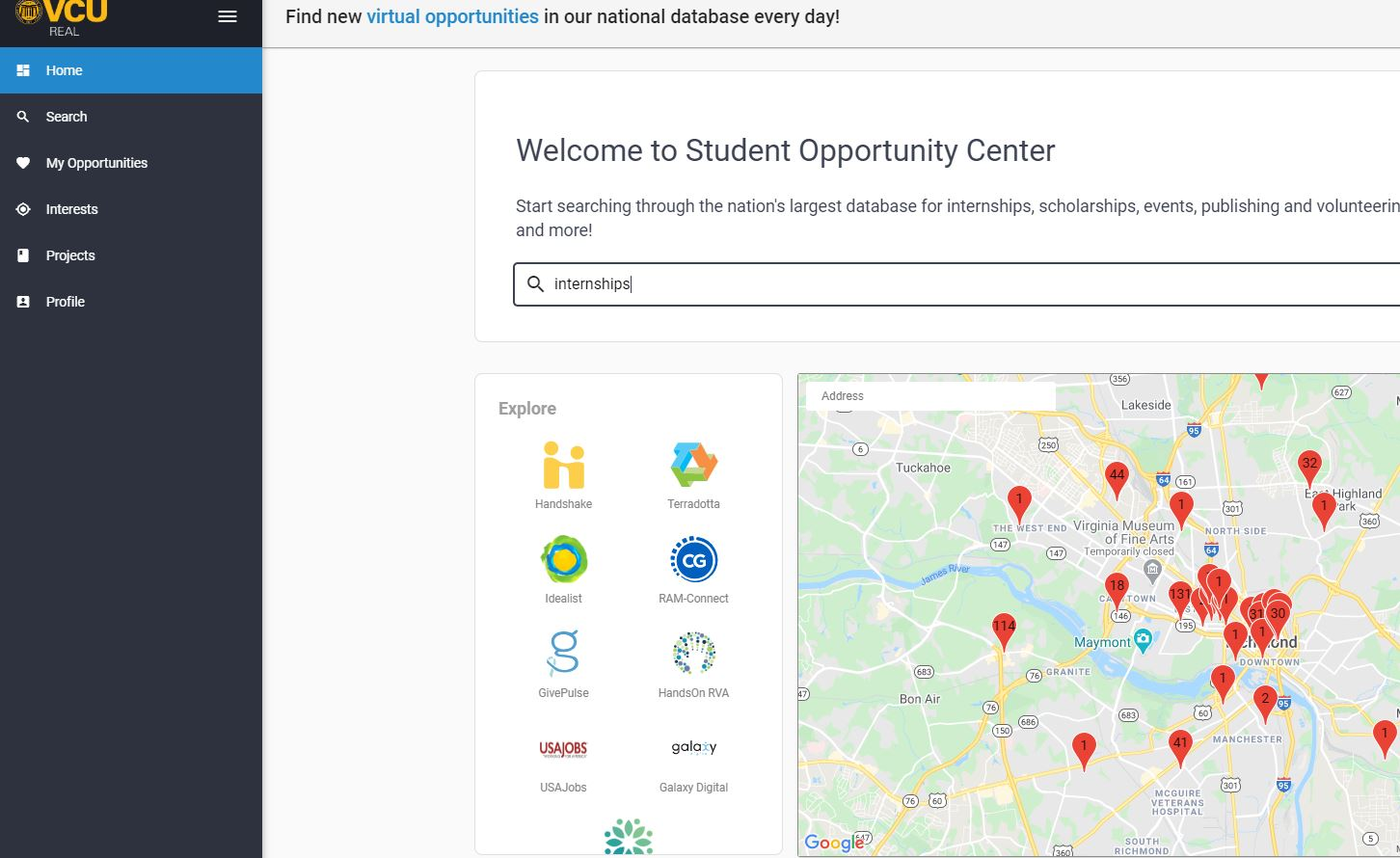 Screenshot of Student Opportunity Center